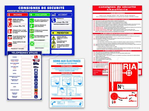 Panneaux de consignes de sécurité